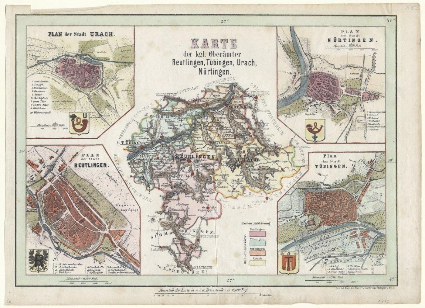 Reutlingen Tubingen Stadtplan Karte Der Kgl Oberamter